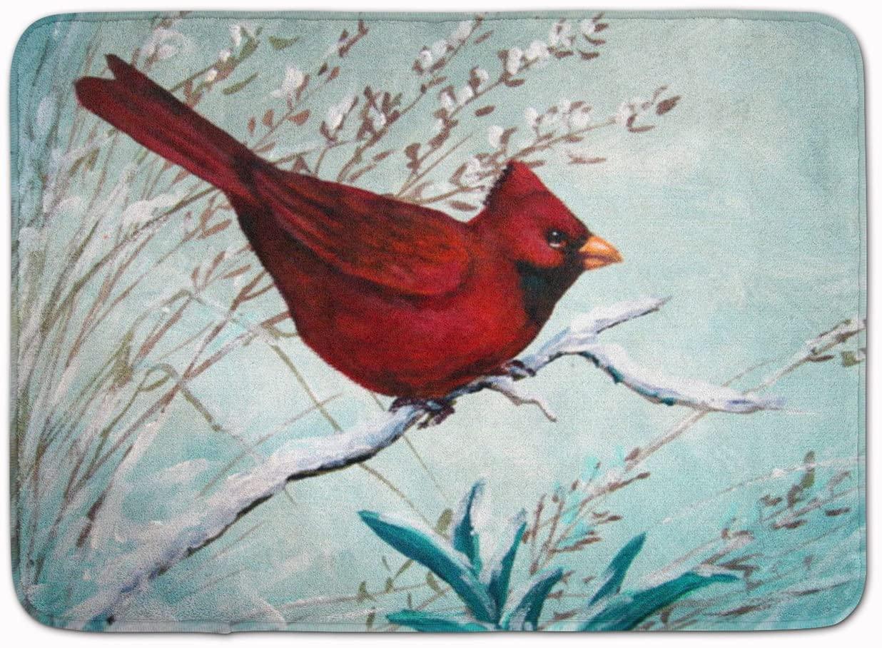 Caroline's Treasures PJC1110RUG Cardinal Winter Red Bird Machine Washable Memory Foam Mat, 19 X 27, Multicolor