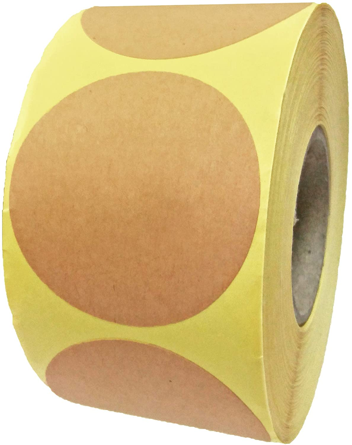 "2"" Kraft Brown Round Adhesive Stickers Labels, Roll of 500"