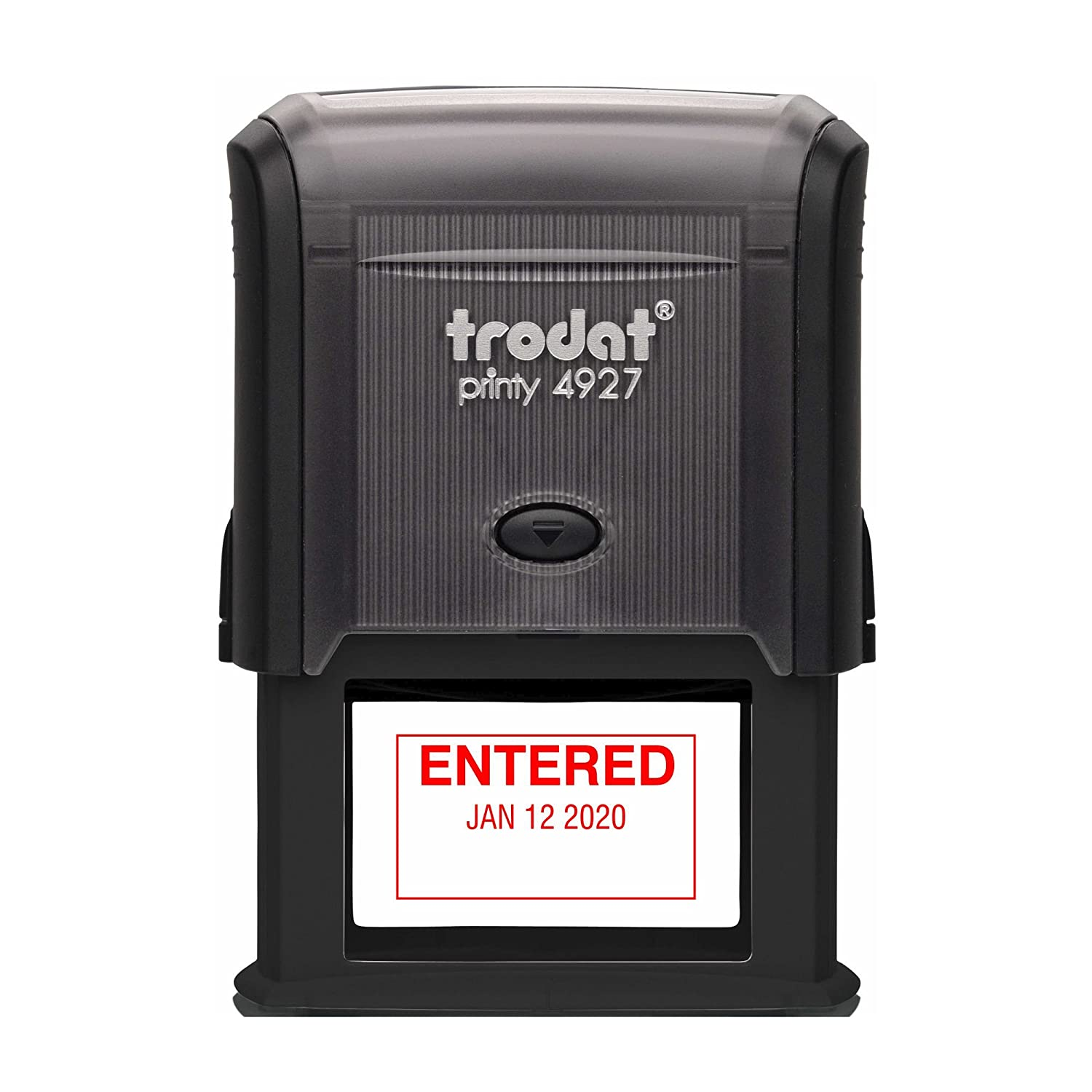 Trodat 4729E1-R - Self-Inking Entered (Straight Text) Date Stamp with Outside Border, Red Ink, 1.75