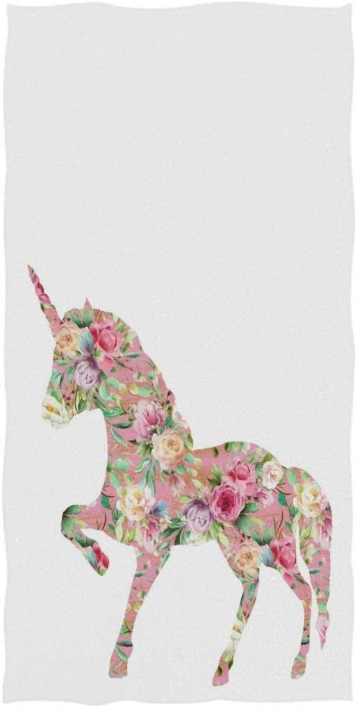 Magic Flower Unicorn Soft Highly Absorbent Large Decorative Hand Towels Multipurpose for Bathroom, Hotel, Gym and Spa, 19.7x39.4 Inches White