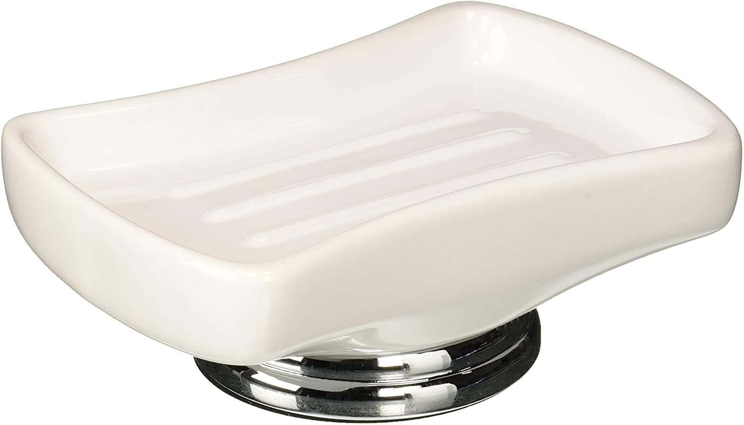 nu steel SH3H Sag Harbor Collection Saver, Kitchen and Bathroom Soap Dish Tray Finish, White Ceramic/Chrome Trim