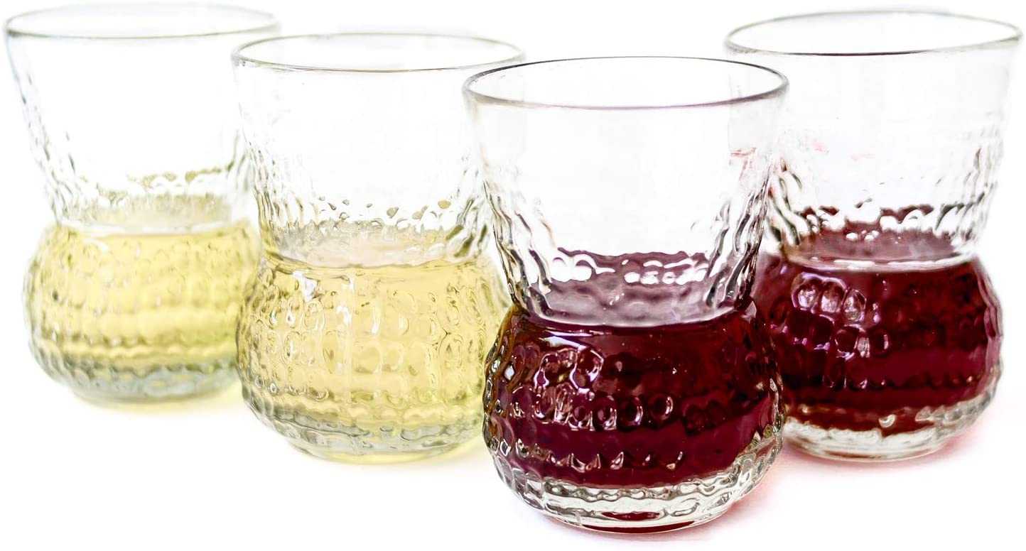 Unique Mexican Artisan Hand Blown Golf Like Design Large Drinking Glasses for Red Wine Lovers, Couples Wedding, Hostess Glassware Set of 4 Stem Less Recycled Glass Cup 10 Oz