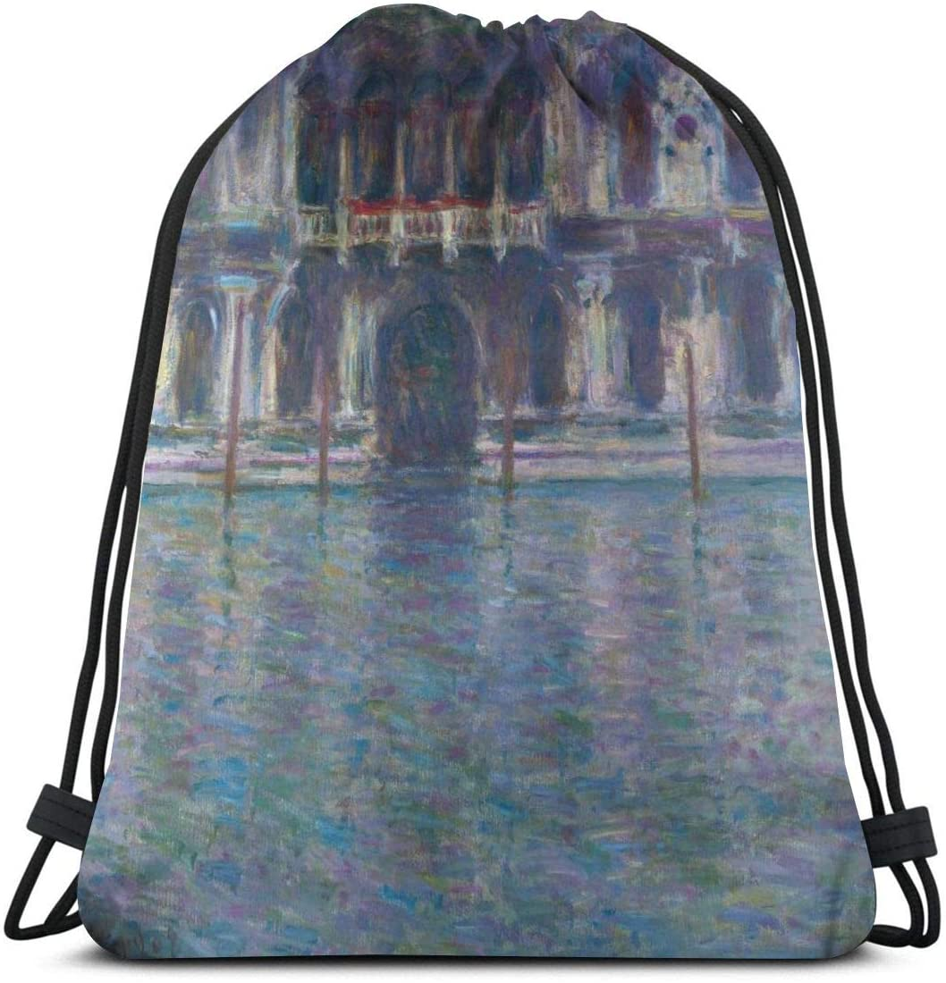 Backpack Drawstring Bags Cinch Sack String Bag Claude Monet Impressionism The Palazzo Contarini Sackpack For Beach Sport Gym Travel Yoga Camping Shopping School Hiking Men Women