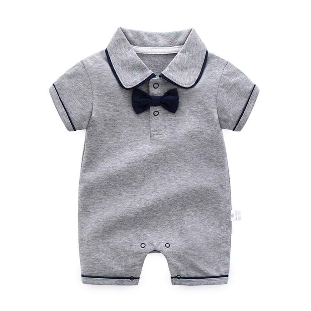 Baby Boys Gentleman Romper Newborn One Piece Cotton Tuxedo Outfit Bowtie Grey 3-6 Months/66