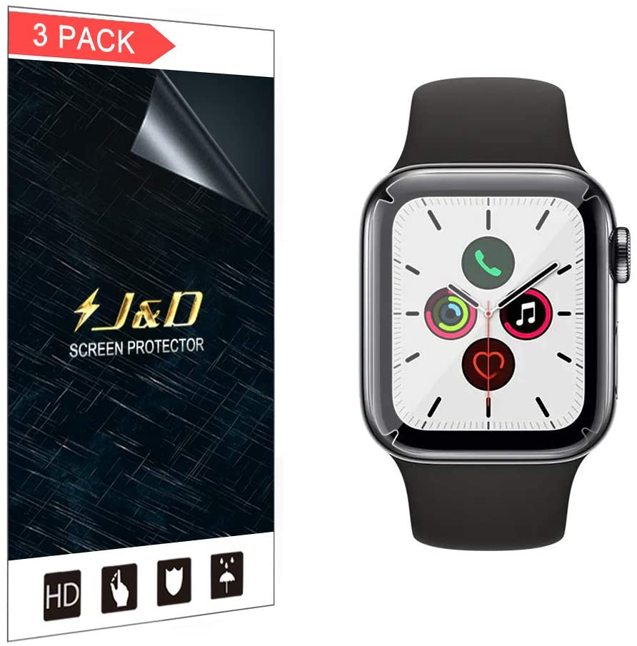 J&D Compatible for Apple Watch Series 5 44mm Screen Protector (Not Glass), 3-Pack Soft Skin [Full Coverage] HD Clear Screen Protector for Watch Series 5 44mm Screen Protector