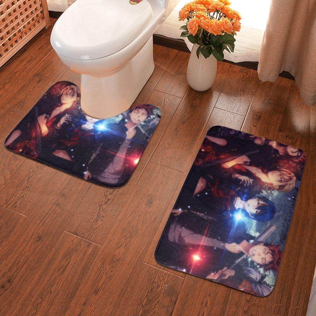 Boweike Food Warsï¼Shokugeki No Soma Bathroom Antiskid Pad Non-Slip Bath Carpet Floor Mat Rug 2 Sets -Floor Mat+U-Shaped Pad, Toilet Washable Blanket Mats for Bathroom Home Shower