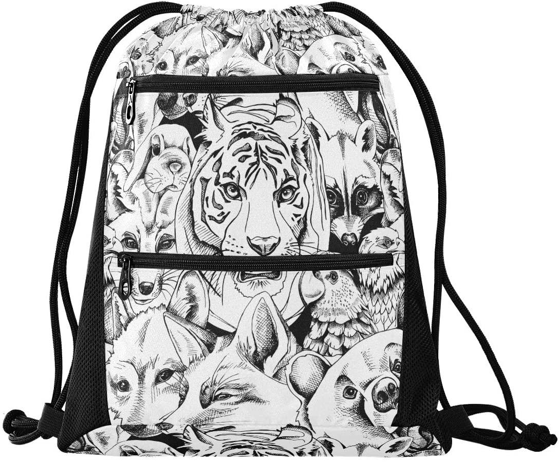 Drawstring Backpack Sport Gym Sackpack - Portrait Of Bear Tiger Wolf Fox Parrot Rabbit Eagle Raccoon Drawstring Bag with Zipper Pocket Cinch Sport Bag Sport Backpack for Hiking