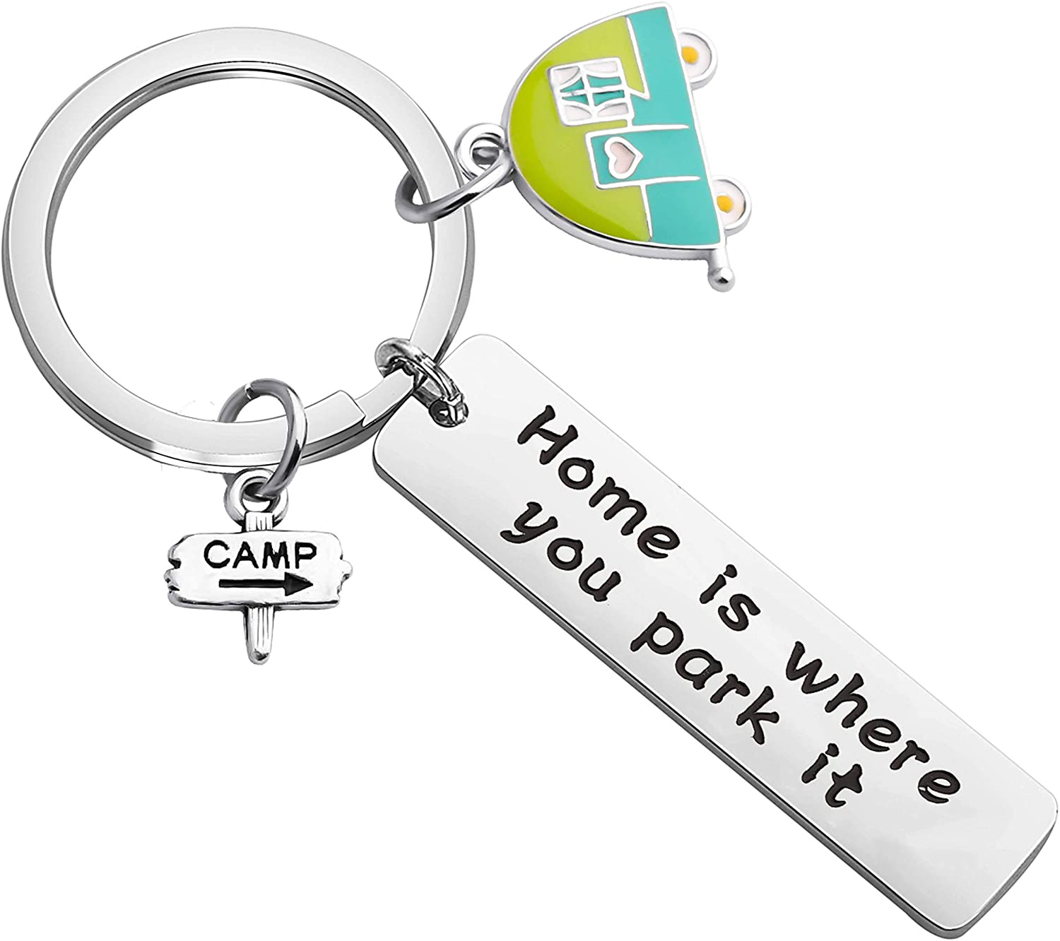 FUSTMW Camping Keychain RV Camper Gift Mini Camper Trailer Vacation Jewelry Happy Travels Gift for Camper Home is Where You Park it