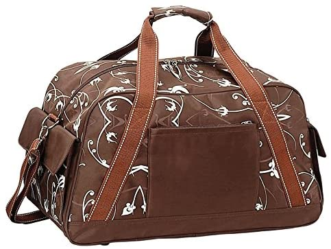 Travelwell Ladies Flowers Sports Travel Overnight Carry On Duffle, Brown