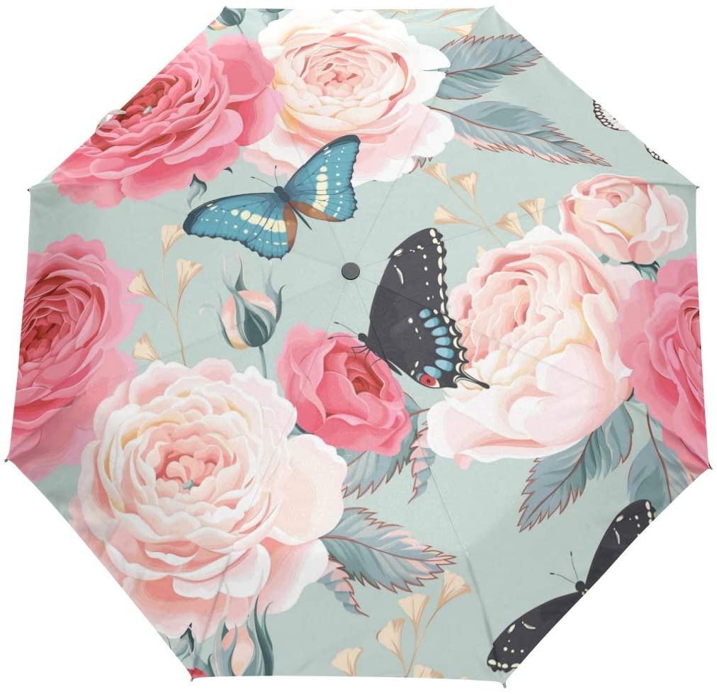senya Butterflies with Rose Umbrella Windproof Rain Automatic Open Close Folding Travel Anti-UV Sun Umbrellas