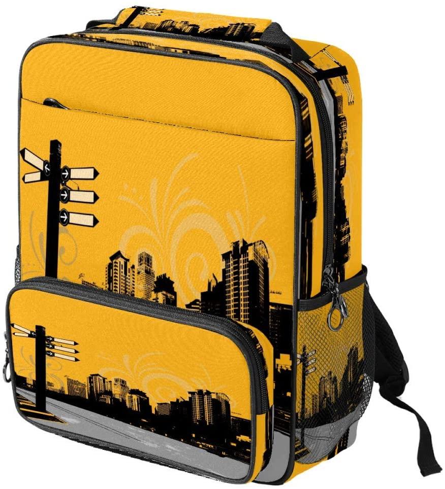 Casual School Backpack Modern Grunge Urban Graphic Design Print Laptop Rucksack Multi-Functional Daypack Book Satchel