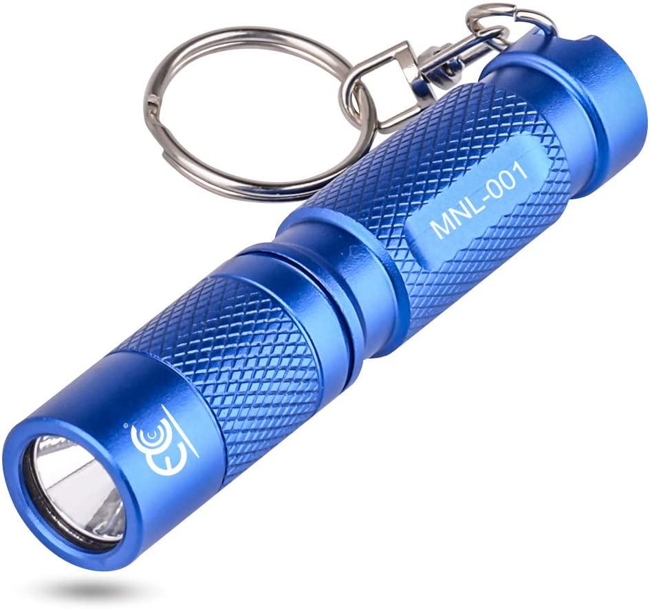 MCCC Mini Aluminum Led Keychain Flashlight, Pocket Size CREE LED Torch EDC Portable Emergency Light (Blue)