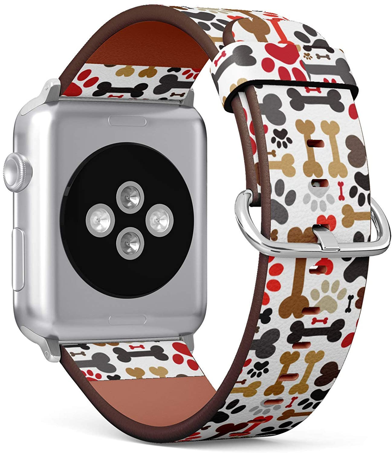 (Cute Pattern of Dogs Paws and Bones) Patterned Leather Wristband Strap Compatible with Apple Watch Series 4/3/2/1 gen,Replacement of iWatch 38mm / 40mm Bands