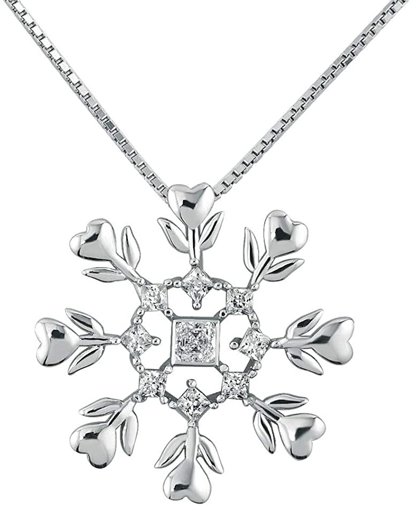 CLY Jewelry Sterling Silver Women Chain 18 Snowflake Crystal Pendant Necklace