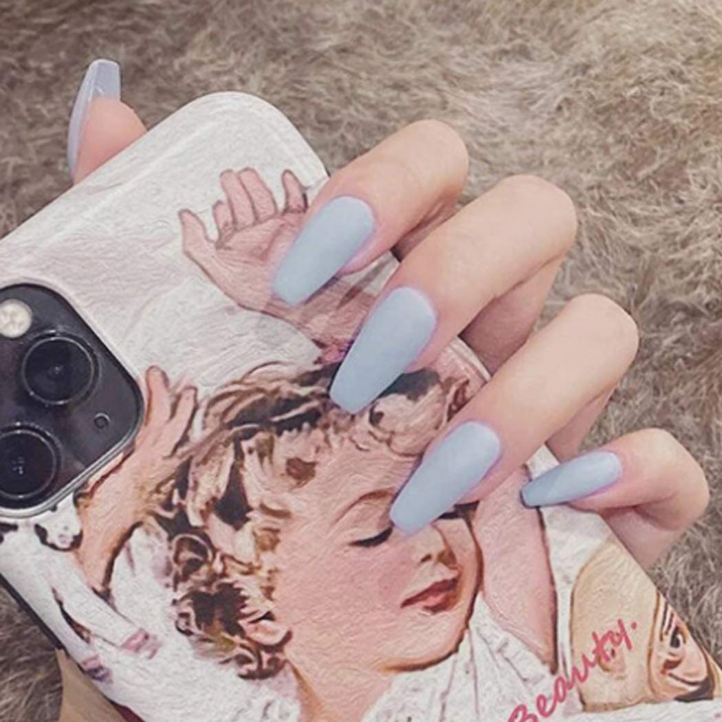 Gangel Matte Nude Full Cover False Nails Blue Coffin Fake Nails Long Ballerina Acrylic Press on Nails for Women and Girls