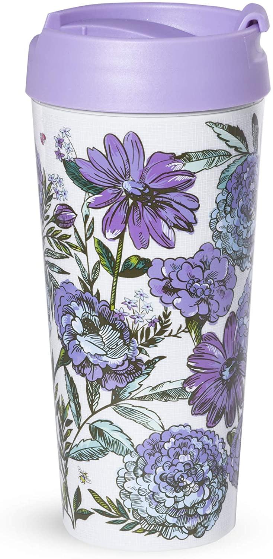 Vera Bradley Women's Purple Floral Insulated Thermal Travel Mug Tumbler, 16 Ounces, Lavender Meadow