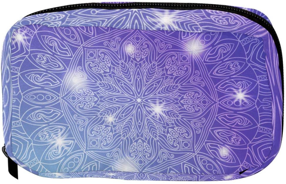 Inhomer Toiletry Bags for women Purple Shinning Mandala Floral Travel Cosmetic Makeup Pouch Handy Pencil Cases