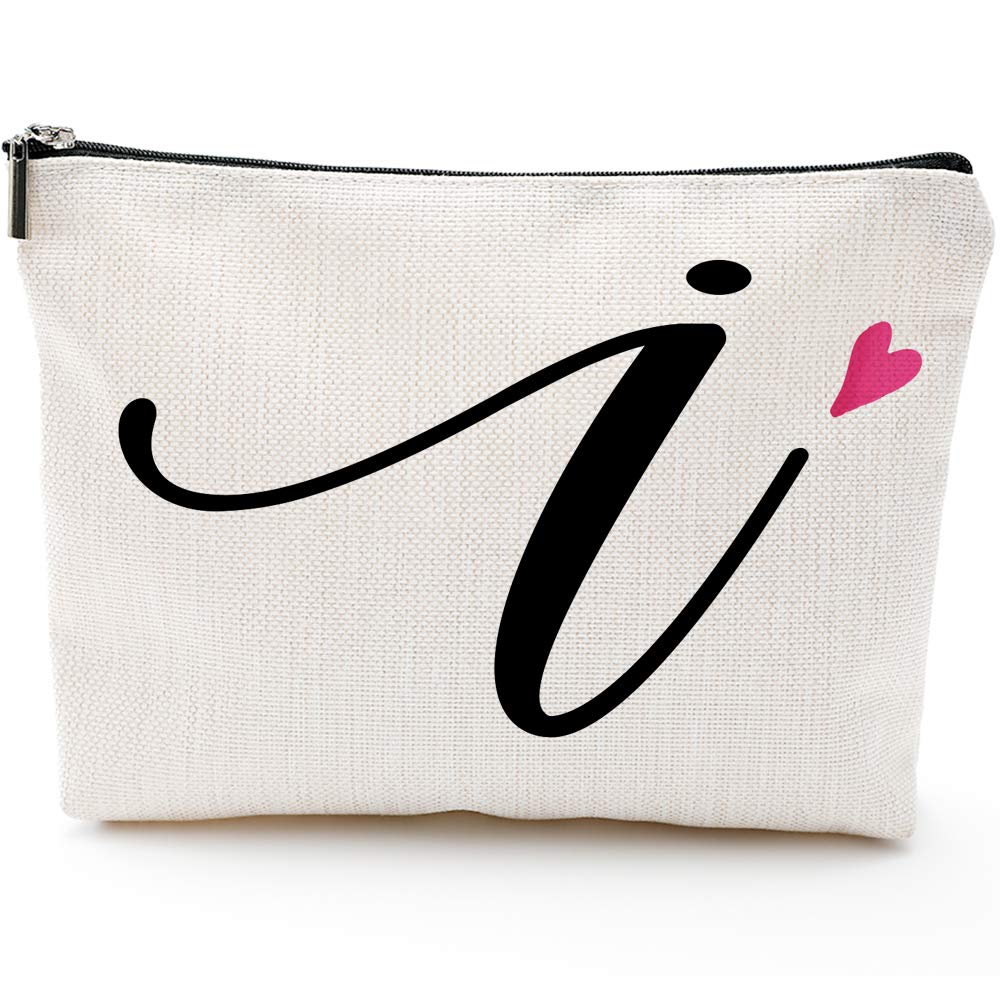 I Initial Monogram Personalized Travel Makeup Bag,Cosmetic Bag Pencil Pouch Gifts with Zipper Waterproof(Makeup bag-Letter I)