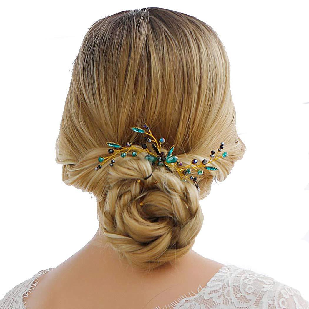 Jakawin Bride Wedding Rhinestone Hair Pin Green Bridal Hair Piece for Women and Girls HP009