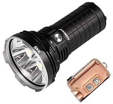 Combo: Acebeam X45 CREE XHP70 LED Flashlight -Optional Cool or Neutral White w/Tini Copper Keychain Light -380 Lumens