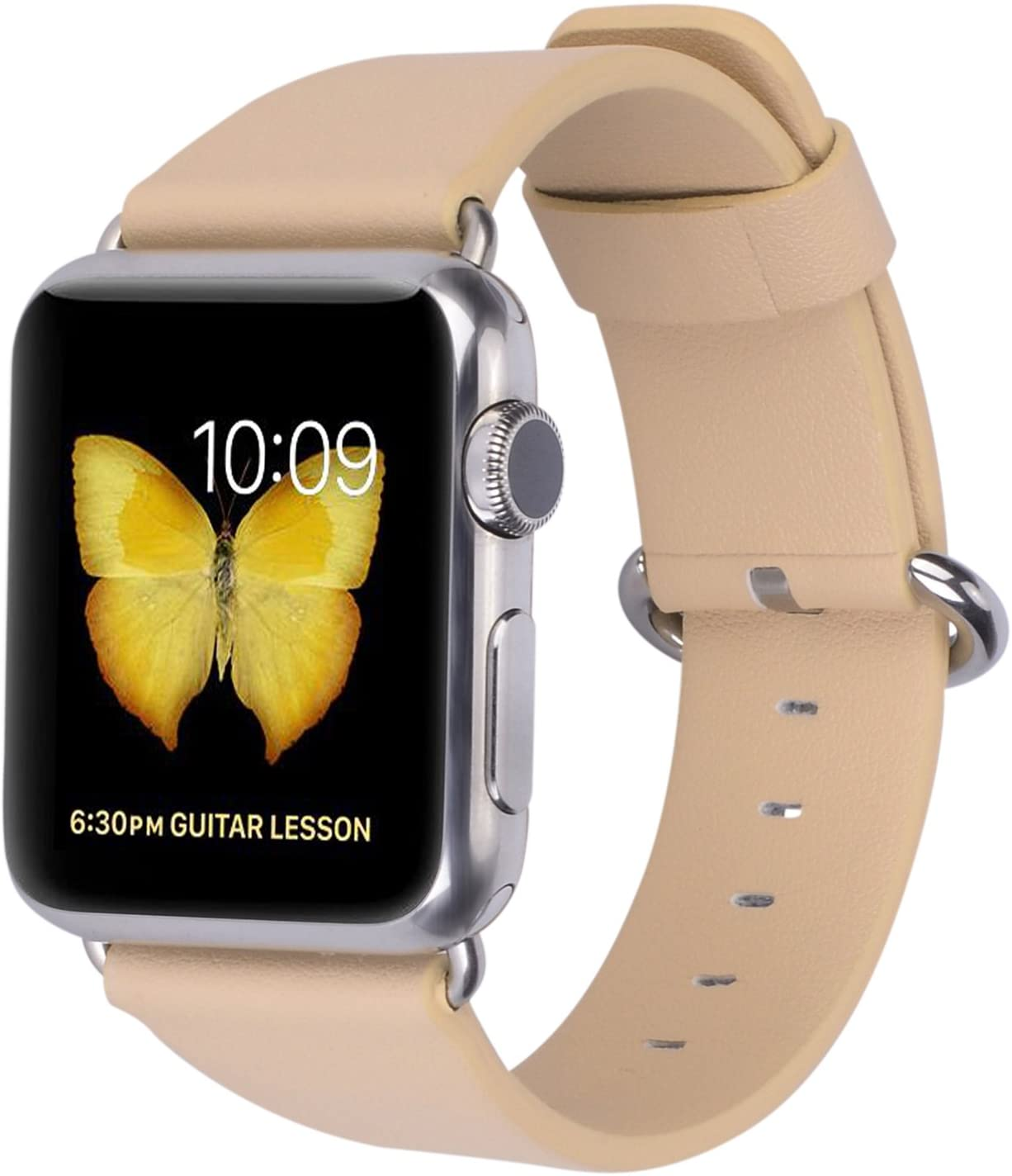 JSGJMY Compatible with Apple Watch Band Women Men Genuine Leather Replacement Strap for iWatch Series 5 4 3 2 1 Sport Edition (Beige, 42mm 44mm M/L)