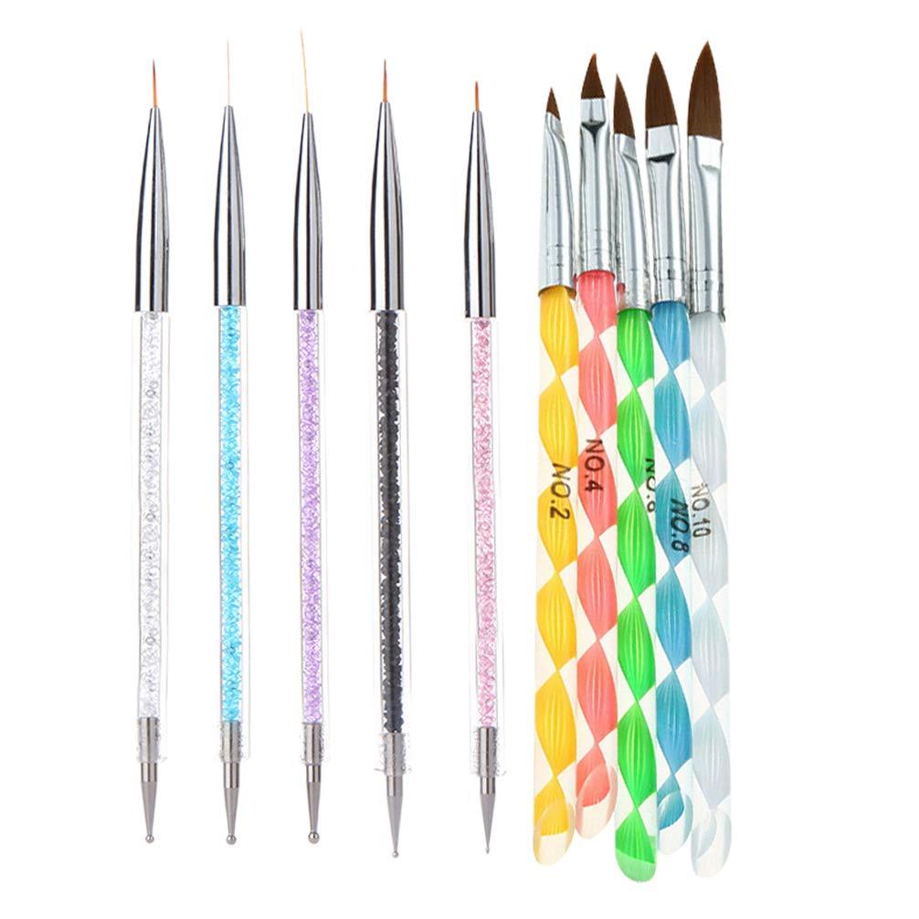 Lurrose 10pcs Nail Brush Pens Kit Liner Brushes and Gel Painting Dotting Pen Nail Painting Brush Acrylic Nail Brush Pens DIY Nail Art Supplies