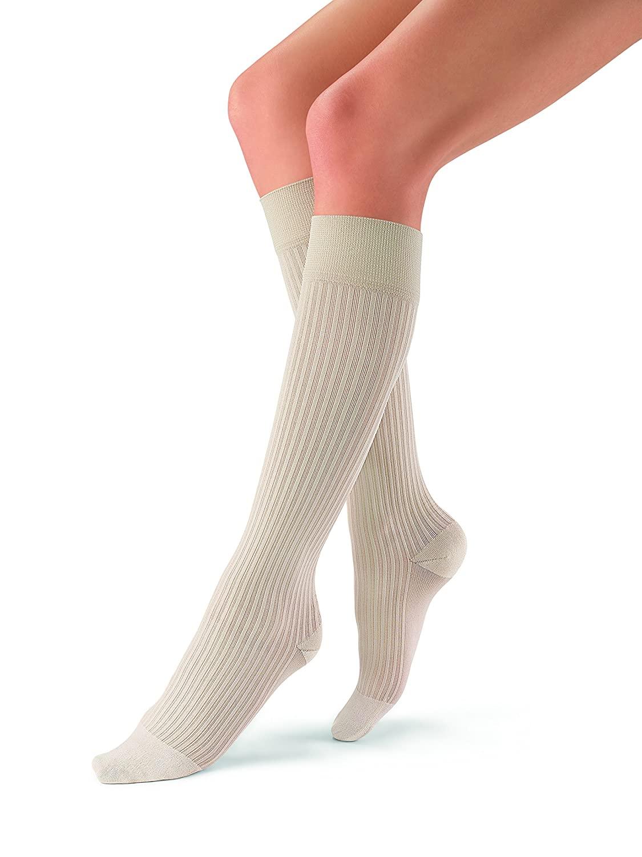 JOBST soSoft, Knee High Compression Socks, Ribbed, 8-15 mmHg, Sand, SM