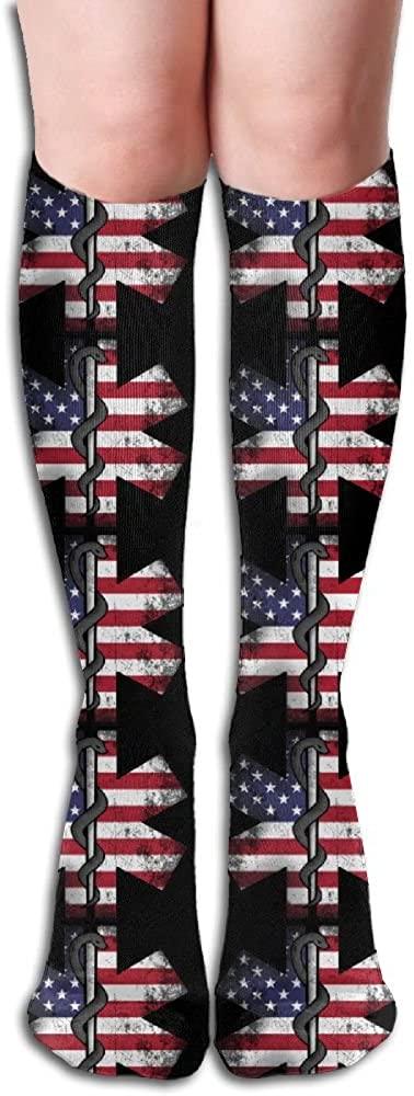 Unisex EMT US Flag Printed Compression Socks-Graduated Compression Knee High Legging Socks