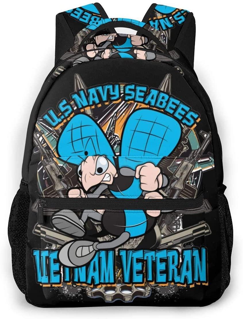 Us Navy Seabees Vietnam Veteran Fashion Theme Backpack School Bag Hiking Casual Bag