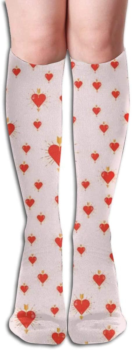 Simple Heart Sharp Beautiful,Design Elastic Blend Long Socks Compression Knee High Socks (50cm) for Sports