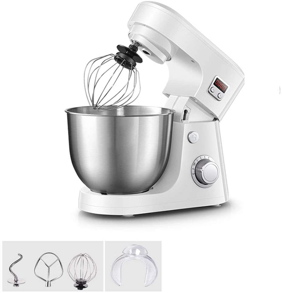LEILEI Stand Mixer,with 8 Variable Speed Control,Stainless Steel Bowl,Safety Lock When Mixing,Includes Wire Whisk,Flat Beater,Dough Hook,4.2 Litre,800W Power,Household Smart Timing