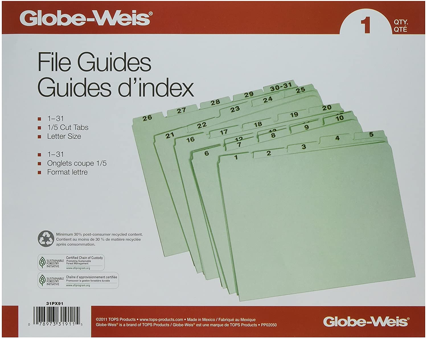 Globe-Weis Recycled Daily Indexed Top Tab Guides (GLW31PX91)
