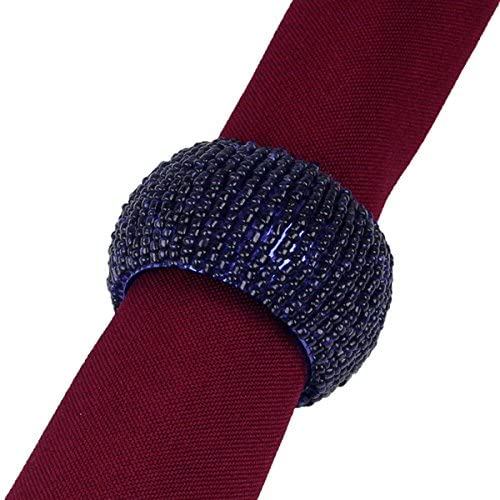 Always Opalescent Navy Blue Beaded Napkin Rings, Set of 6