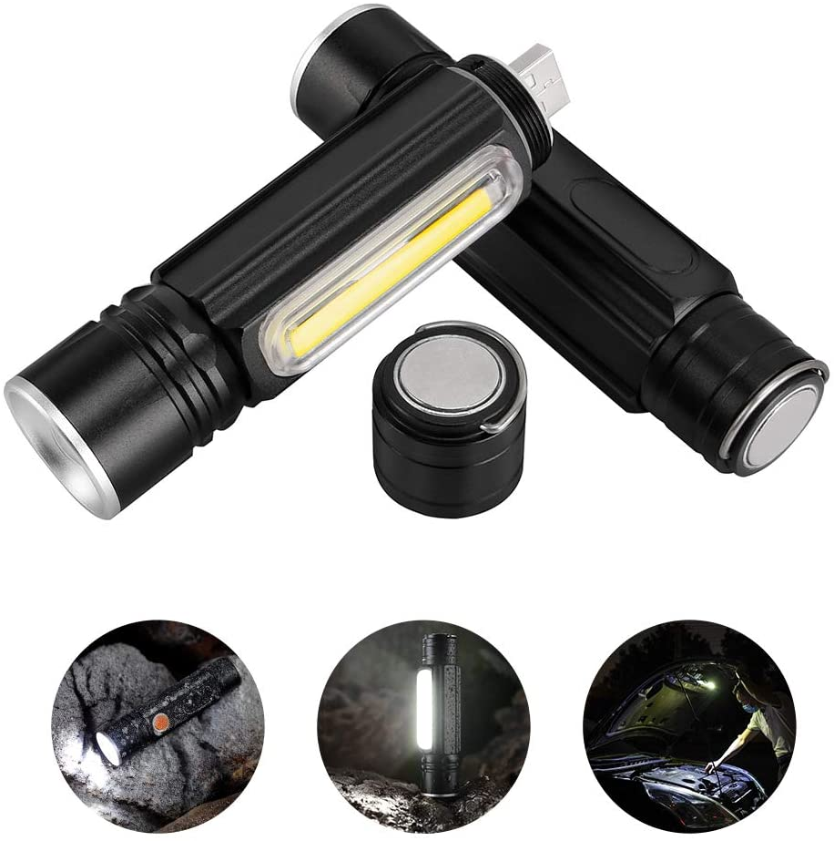 Foxhawk 2 Pack Magnetic Rechargeable LED Flashlight, 800 Lumens Pocket-Sized COB LED Work Light, Water Resistant EDC Torch Light, 5 Light Modes, Built-in 18650 Battery, Zoomable, Holster Included