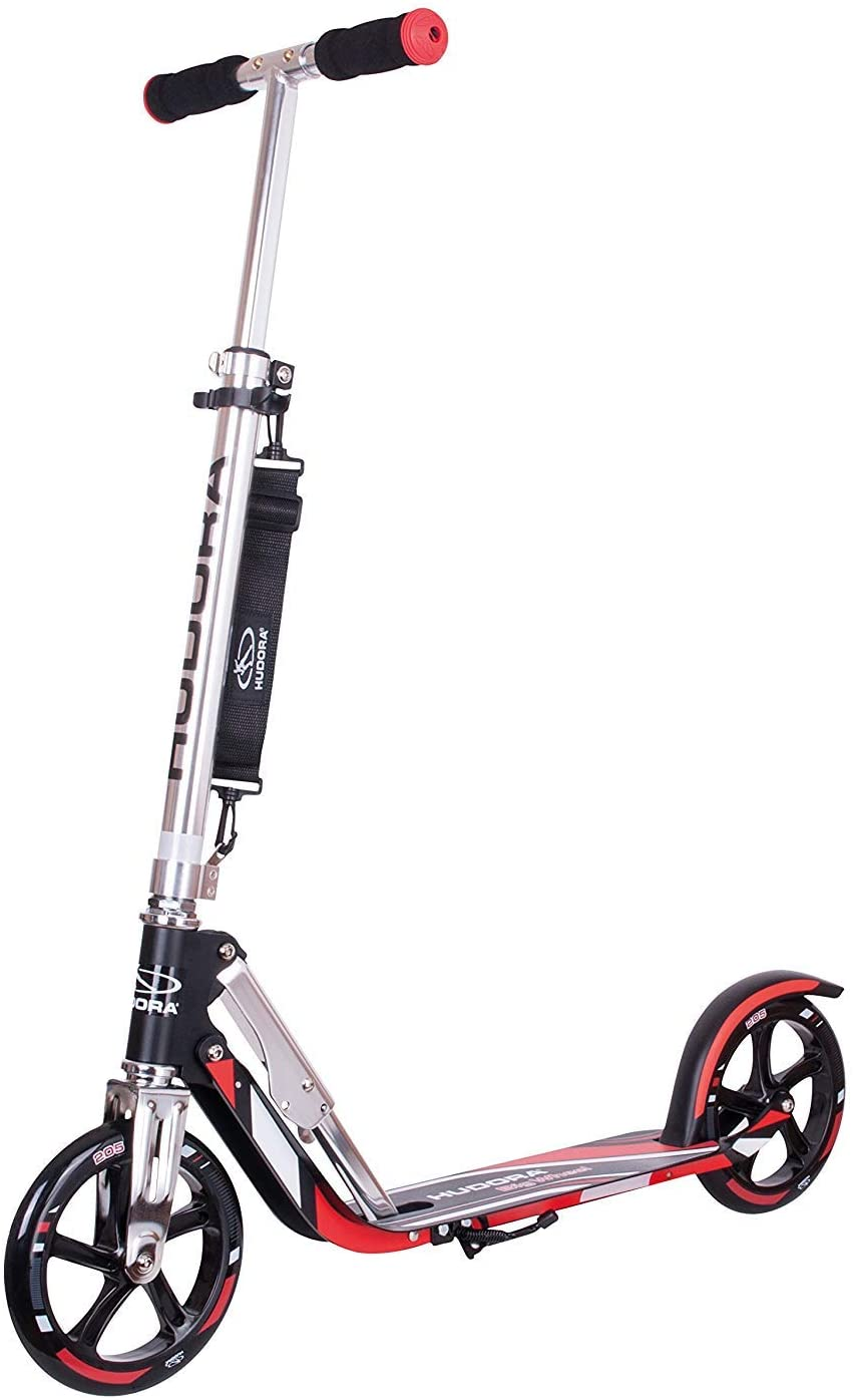 HUDORA Kids' RX 205 Big Wheel Aluminium Scooter, Black/Red, One Size