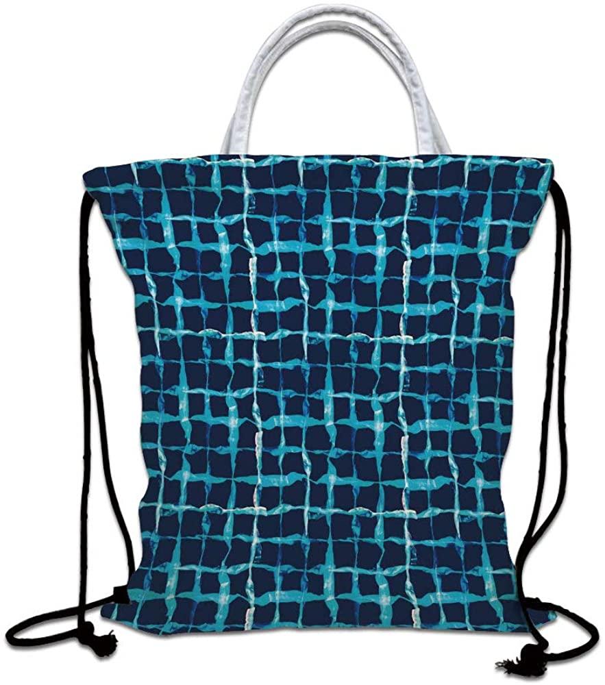 Indigo Drawstring Backpack Bag,Watercolor Print Geometric Squares Lines Aqua Pool Inspired Design Lightweight Sports Gym Bag for Women Men Children,Navy Blue White and Sky Blue