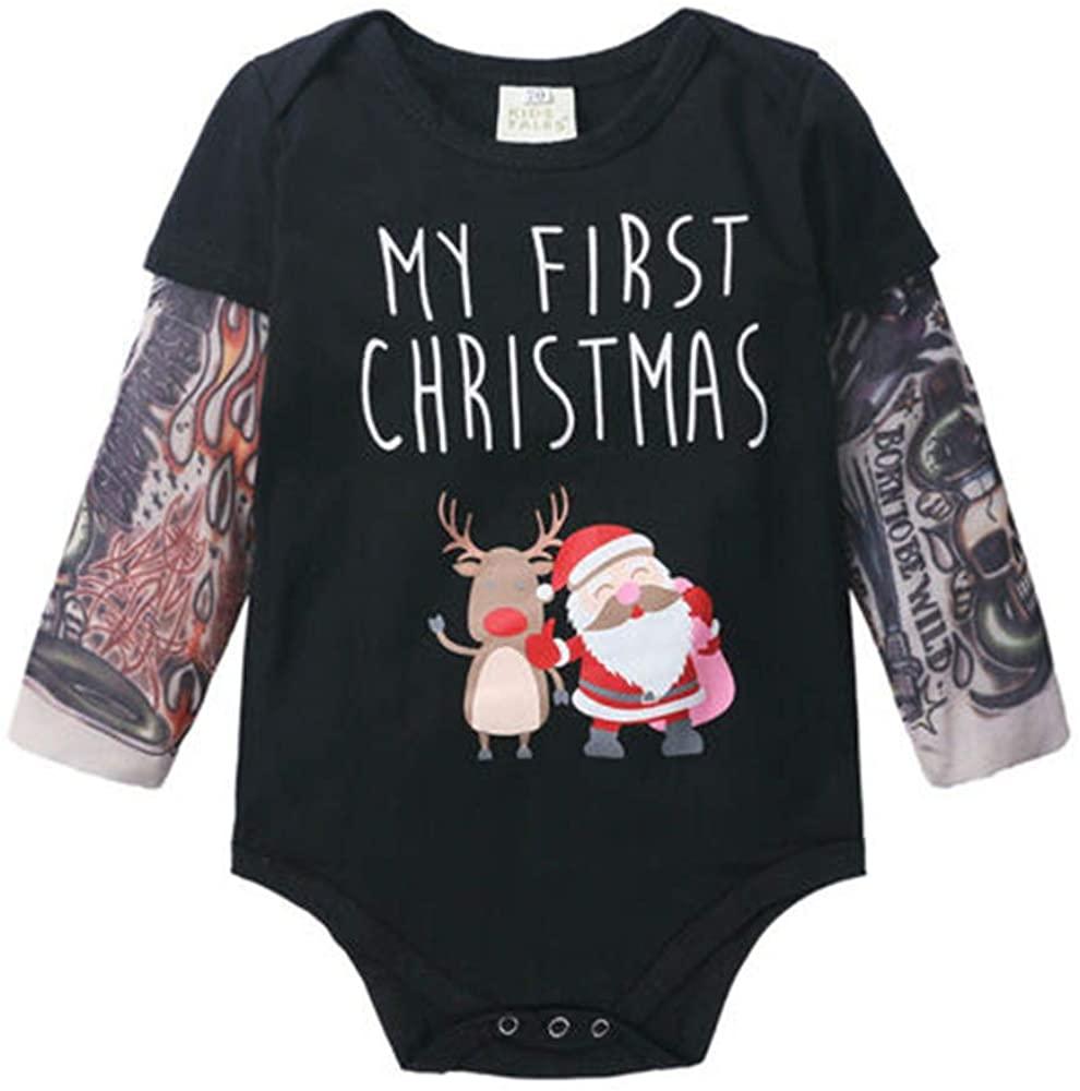OVKMANG My First Christmas Romper Newborn Baby Boy Tattoo Sleeve Reindeer Santa Cartoon Bodysuit Outfits Xmas Clothes