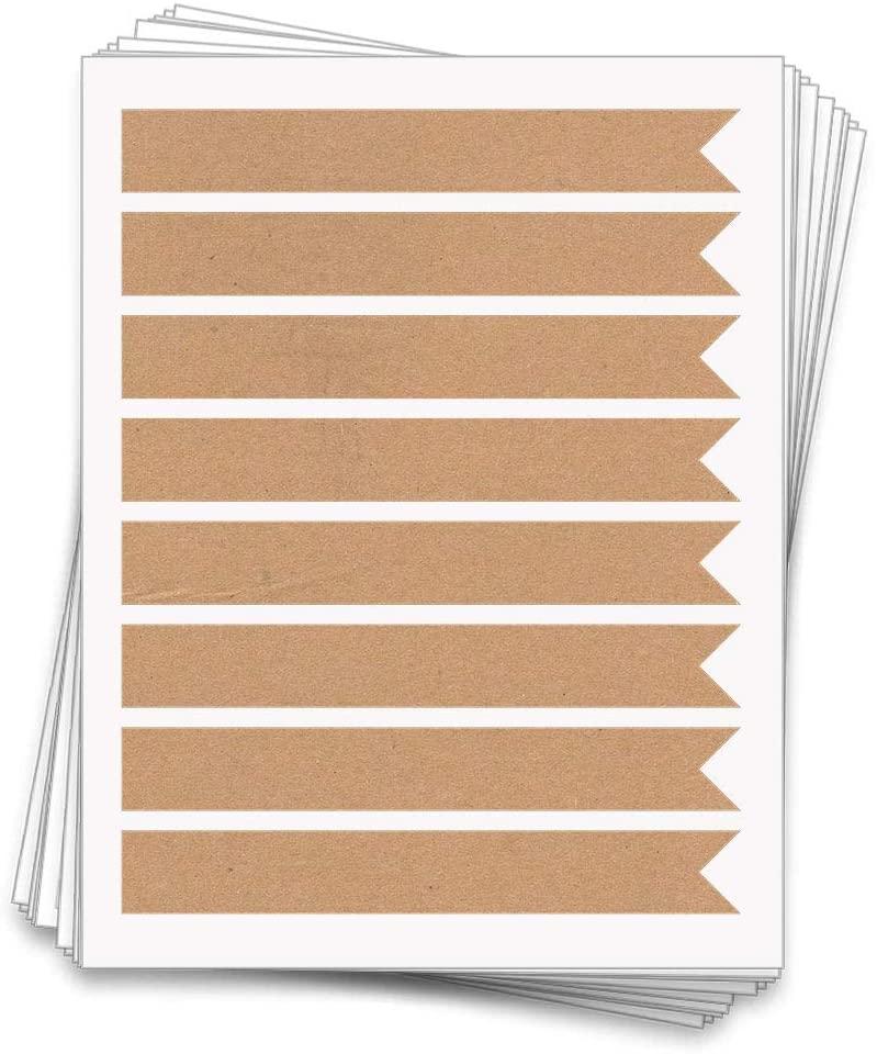 40 Printable Long Flag Labels, 7.5