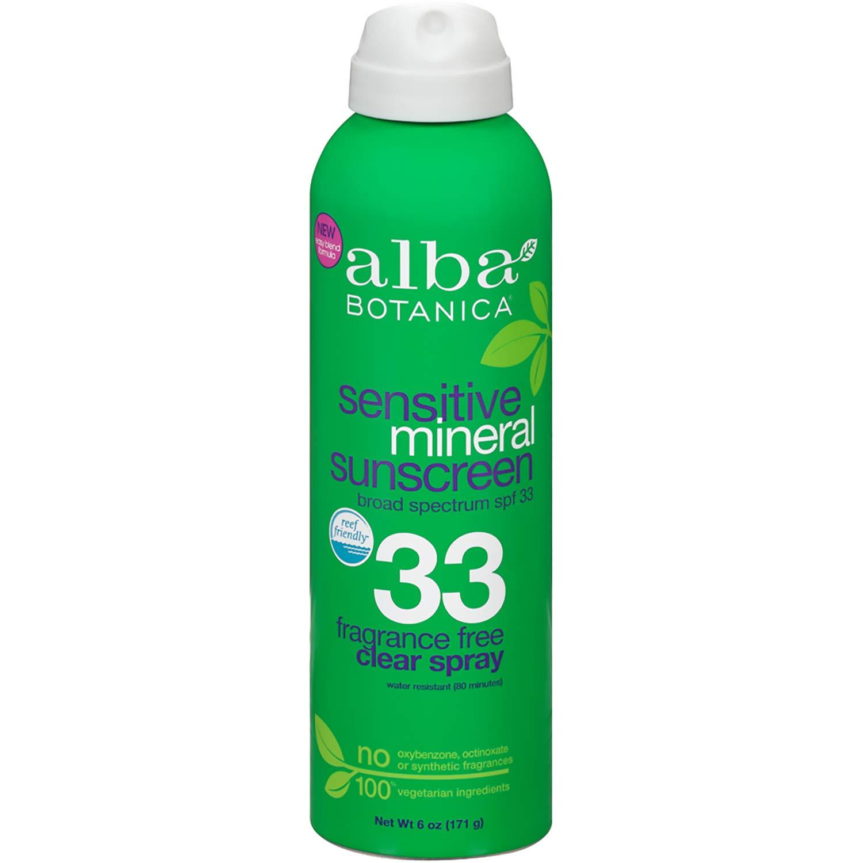 Alba Botanica Fragrance Free Sensitive Mineral SPF 33 Sunscreen, 6 oz