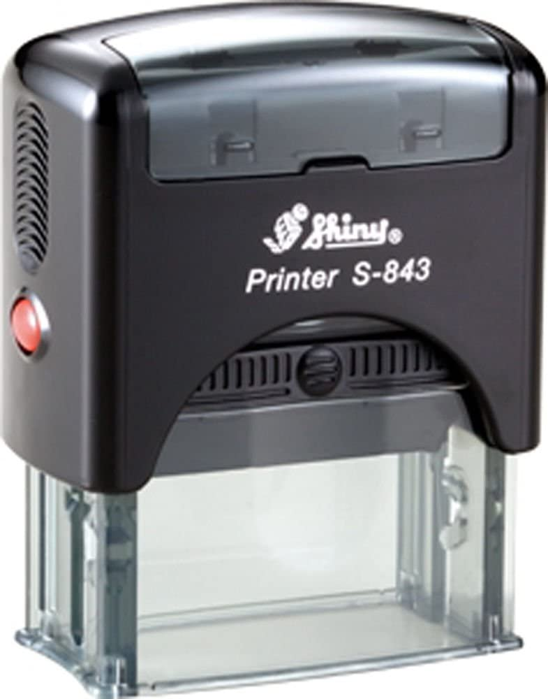 Custom 4 Line Text / Address Shiny Printer A-843 Office Self-inking Rubber Stamp