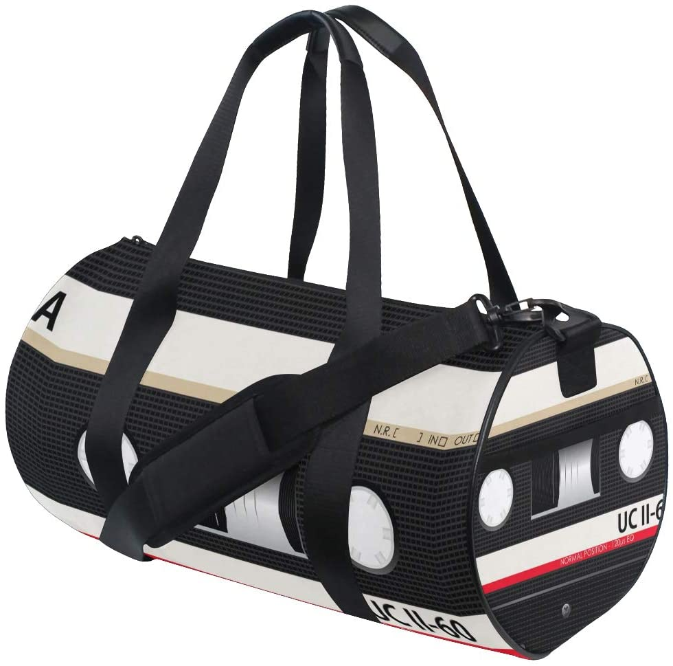 Brighter Audio Cassettes Fitness Sports Bags Gym Bag Travel Duffel Bag for Mens and Womens