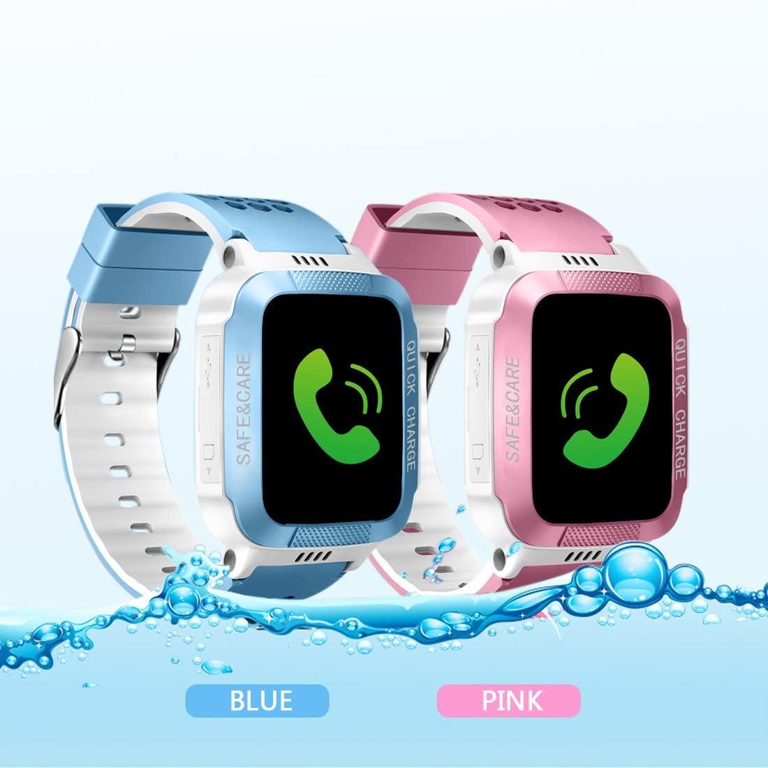 AngelaKerry 1.44 inch Touch Kids GPS Tracker Smart Watch SIM Calls Anti-Lost SOS Wrist Watch Smart Bracelet for Children Girls Boys Finder Safety Monitor Flashlight - Touch/Pink