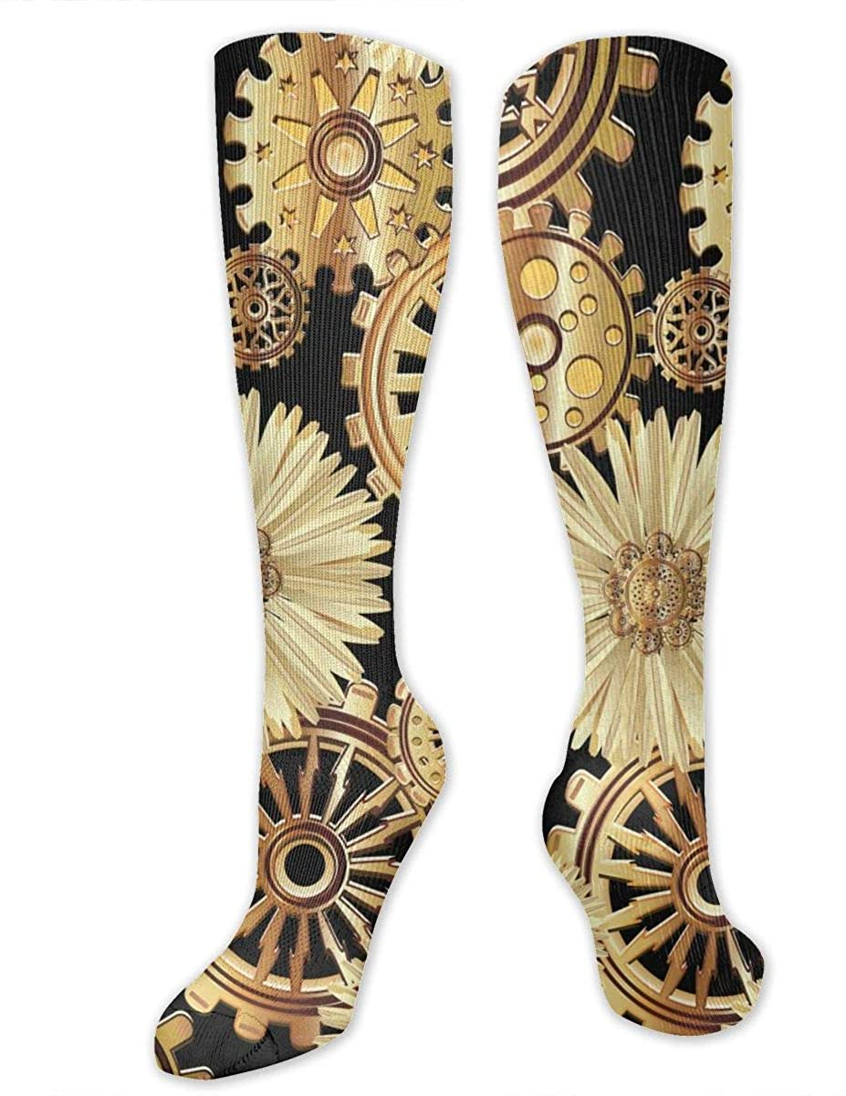 Gears In The Style Of Steampunk Athletic Socks Thigh Stockings Over Knee Leg High Socks