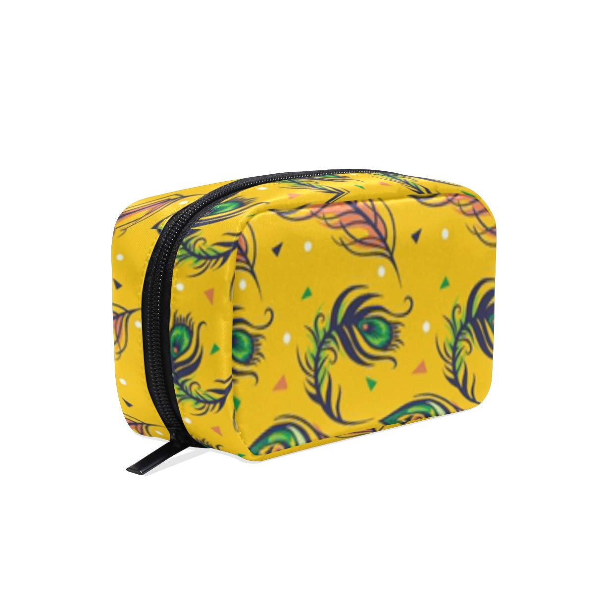 ILEEY Hand Drawn Peacock Feather Pattern Collection Cosmetic Pouch Clutch Makeup Bag Travel Organizer Case Toiletry Pouch for Women