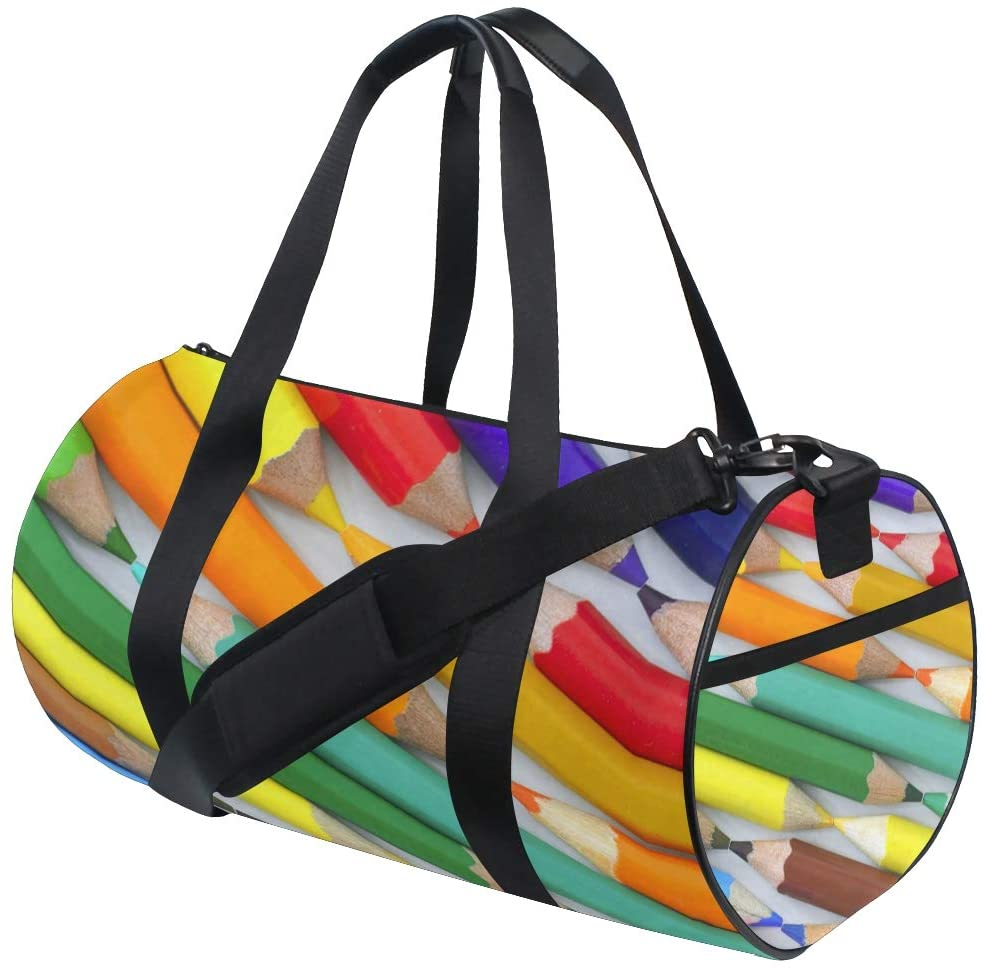 Brighter Rainbow Crayon Fitness Sports Bags Gym Bag Travel Duffel Bag for Mens and Womens