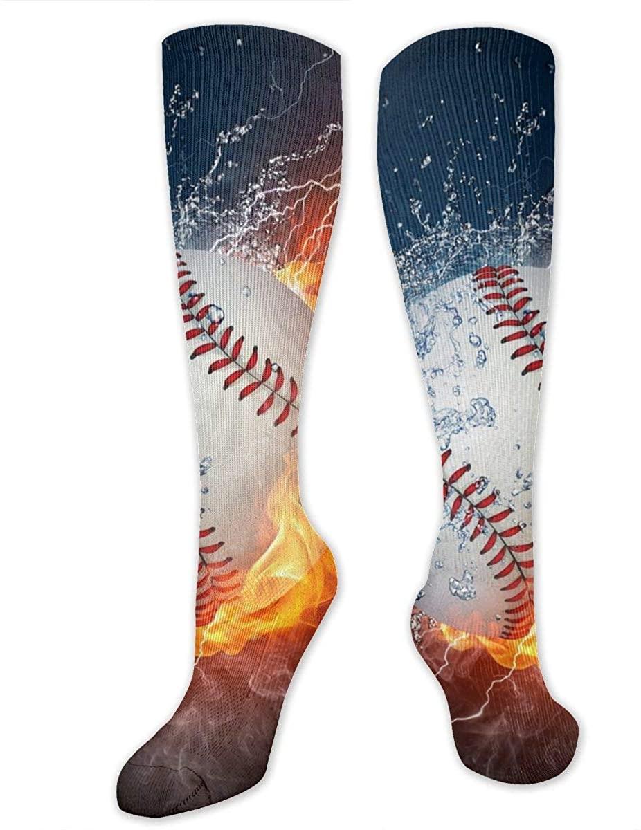 Fire And Water Baseball Ball Athletic Socks Thigh Stockings Over Knee Leg High Socks
