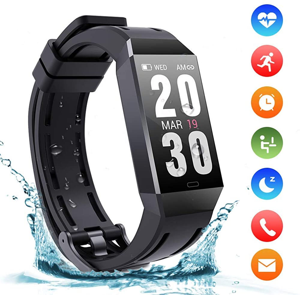 ALUCE Fitness Trackers, Activity Trackers Watch IP68 Waterproof Bluetooth with Pedometer Wristband 1.14Inch Touch Screen Calls SMS SNS Reminder for Kids Women Men