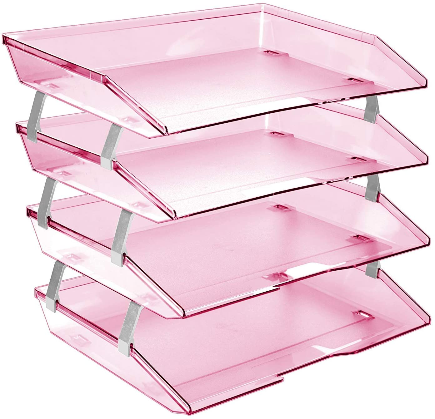 Acrimet Facility 4 Tier Letter Tray Side Load Plastic Desktop File Organizer (Clear Pink Color)