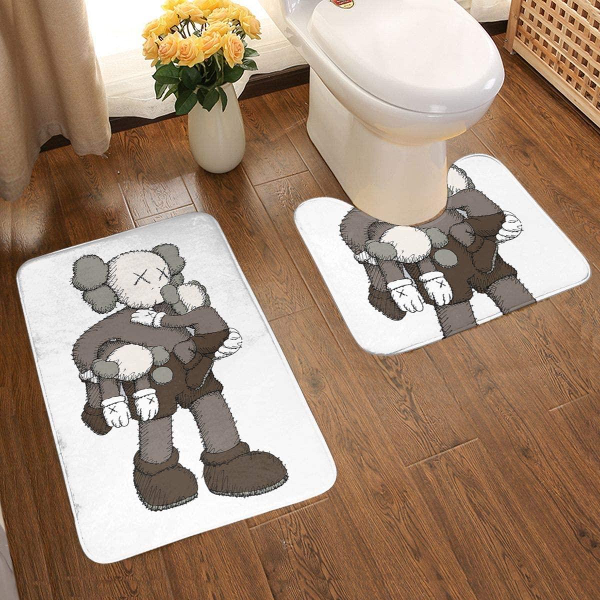 KAWS Bathroom Rugs Bath Mat Set for Bathroom 2 Piece 19 X 15 U Shape Contour Bath Rug & 31 X 19 Bathroom Rug Mats Toilet Machine Wash Non Slip