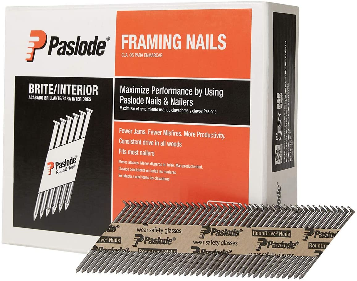 Paslode, Framing Nails, 650603, 30 Degree RounDrive Brite, 2 3/8 inch x.113 Gauge, Ring, 2,000 per Box
